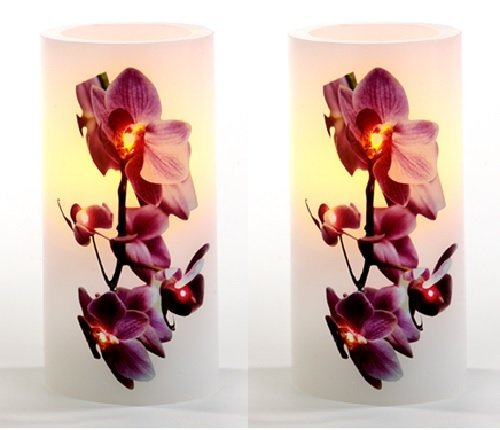 LED Echtwachskerzenset Orchideen 2er Set Kerzen