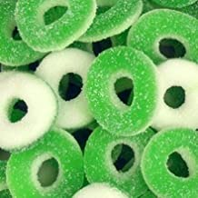 Sugarman Candy Sunrise Delightful Green and White Apple Gummy Rings - 2.5 Pound Bag