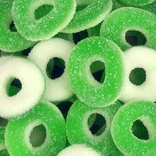 Sugarman Candy Sunrise Delightful Green and White Apple Gummy Rings