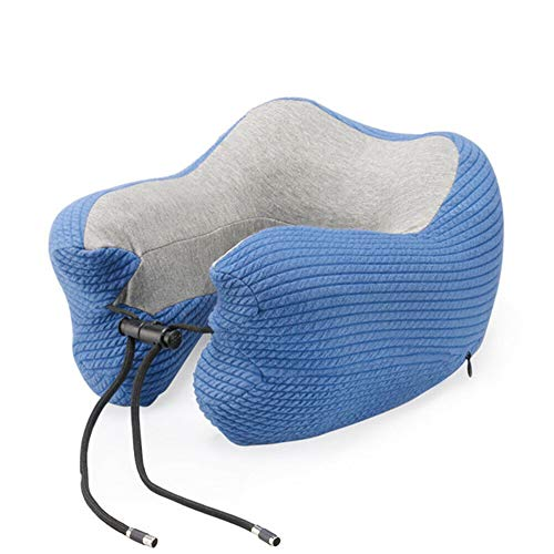 Reisekissen,Nackenkissen Memory Foam U-Förmigen Nackenkissen Unterstützung Kopfstütze Auto Flugzeug Weiches Kissen Tragbare Blau 30X28Cm