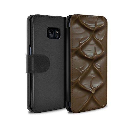 Mobile-edge-schokolade (Stuff4® PU-Leder Hülle/Case/Tasche/Cover für Samsung Galaxy S7 Edge/G935 / Mars Bar Muster/Schokolade Kollektion)