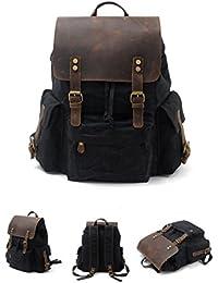0827ab8125c0b Mochila de lona impermeable Batik hombres Bolsa Vintage de cuero mochila de  viaje en el exterior