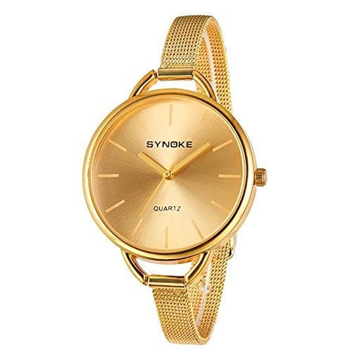 Weibliche Uhr Gold & Silber Legierung Mesh Gürtel Uhr Mode Damen Casual Uhren Quarz Armbanduhr Frau , gold - Uhr Damen Face Dual