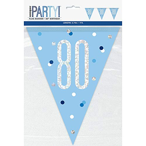 Unique Party- Bandera, Color blue & silver (83444)