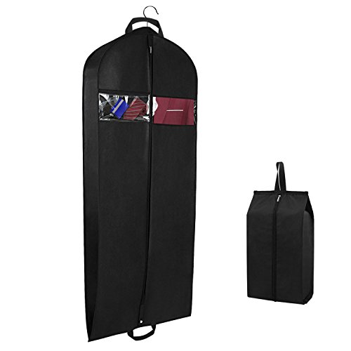 Breathable Suit Carrier Covers Bag Dress Garment Bag with Pockets Carry Handles Gusset and Shoe Bag for Traveling and Closet Organization, 152cm x 60cm x 15 cm