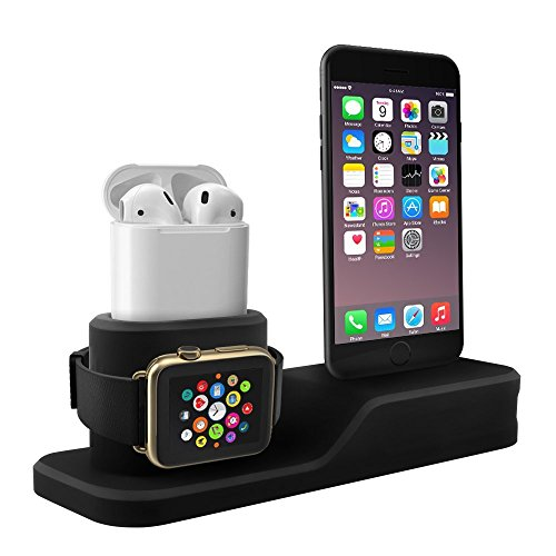Tempo Apple Watch Stand, 3 in 1 Premium Silicone Charger Dock Station for Apple iWatch Series 1/2/3, AirPods, Compatible with iPhone X/8/8 Plus/7/7 Plus/6s/6s Plus (Not Included Cable/Adapter) (Charger Phone Base Desktop)