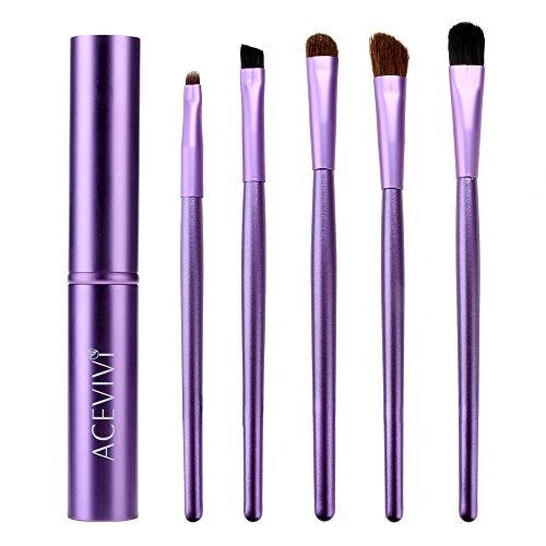 ACEVIVI Kit Pinceaux Maquillage Professionnel 5 Pcs Brosses à Maquillage Yeux Coffret en Tube Métal