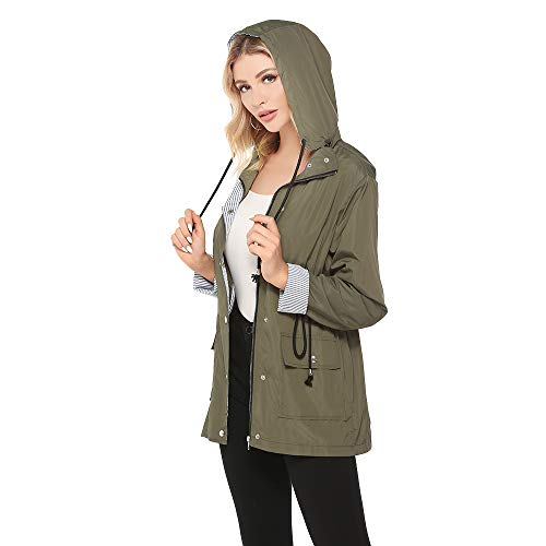 Bedee DamenRegenmantel Wasserdicht  Regenjacke Mit Kapuze, Armygrün, Gr.- EU:38 - 40/ Etikettengröße- M