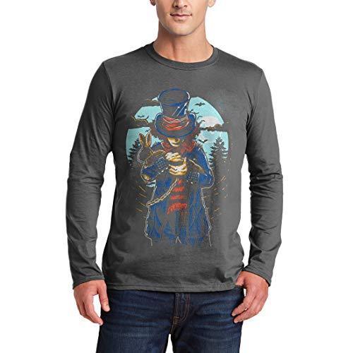 garm T-Shirt Mad Hatter Horror Night Moon Dark Rabbit Hat Death Evil Skull Bats Hell Saw Killer Vintage Classic(Large,Charcoal) ()