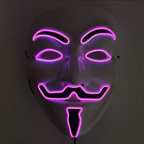 Kostüm Maske Anonymous - Halloween Maske, JunYee LED Anonymous Hacker Gesichtsmaske für Kostüm, Party, Festival, Cosplay, Halloween (Pink)