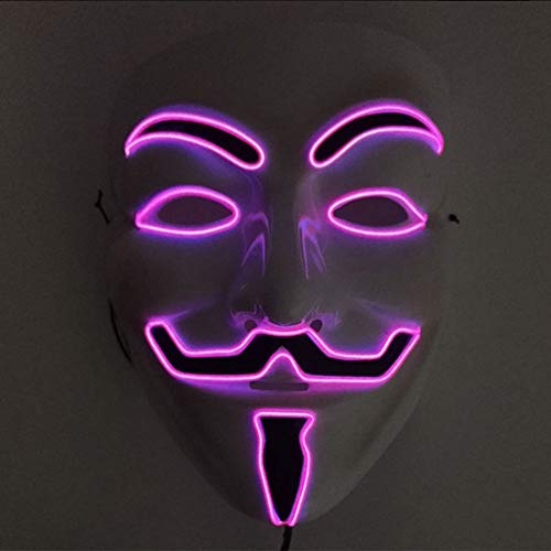 Halloween Maske, JunYee LED Anonymous Hacker Gesichtsmaske für Kostüm, Party, Festival, Cosplay, Halloween (Pink)
