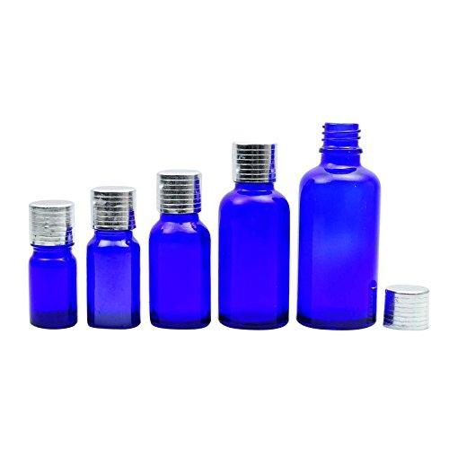 12 Pcs rechargeable Huile Essentielle Euro flacon compte-gouttes bouteilles vides Bleu Cobalt verre avec bouchon à vis Argent gros Boston Round Sérum Flacon 30 ML
