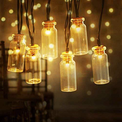 InnooLight 20er LEDs Solar Lichterkette Glasflaschen aussen mit 2 Modi, 2m Warmweiß LED Lichterkette outdoor mit 2m Kabel für Garten/Terrasse/Balkon, IP44 Wasserdicht