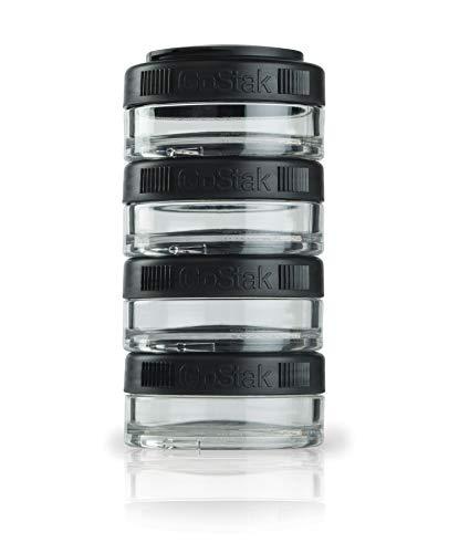 BlenderBottle GoStak Behälter zum Aufbewahren von Protein, Eiweiß, Pulver, Vitaminen und mehr- 4Pak 40ml (4x40ml), schwarz