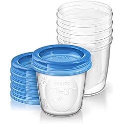 Philips Avent Pots de Conservation et leurs Couvercles Vissables 180 ml Plastique (5 Pièces)