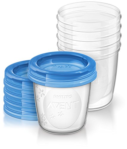 Philips Avent - Set de recipientes para leche materna (5 recipientes 180 ml + 5 tapas)