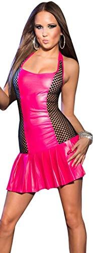 Firstclass Trendstore Gogo-Minikleid mit Faltenrock * 34 36 38 * ärmellos Clubwear Wetlook Party Kleid (900090 pink S/M K726)