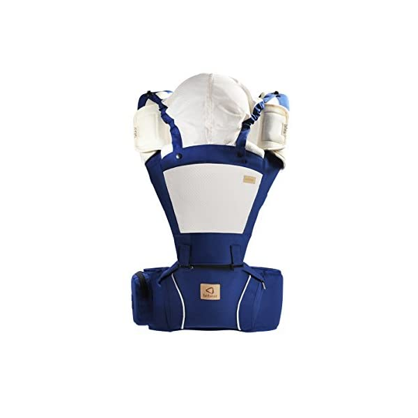 "Bebamour Hipseat Baby Carrier Backpack 5 in 1 Carry Ways Carrier Sling (Dark Blue) bebear PROMISED QUALITY AND FABRIC - The baby carrier is made with 100% polyester with breathable cotton make baby feel comfortable and cozy. (If you have any questions in using baby carrier, pls don't hesitate to contact us. Besides, you can see the user vedio through Youtube by searching ""Bebamour Baby Carrier Hipseat"".) ERGONOMIC DESIGNED - Although it is a baby carrier hipseat, it also is designed according to baby's growth. Suit for baby who is 3-36 months and whose capacity is between 0-33lbs (14.9KG). LIGHTWEIGHT WITH 5 CARRY WAYS - Size of the baby carrier is L11.8""*H9.8""*W7.1""(L20*H25*W18CM); Weight is about 1.2lbs (0.58KG); You can use it by 5 carry ways, details in paper instruction manual; 2"