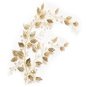 Cuigu Golden Blätter Perle Haarband für Braut, Luxus Schmuck Dekor Stirnband für Hochzeit