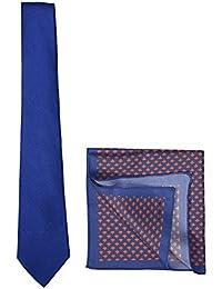 Chokore Cobalt Blue Linen Tie & Blue-Red Pocket Square Set