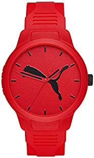 Puma Reset V2 Men's Red Dial PU Leather Analog Watch - P