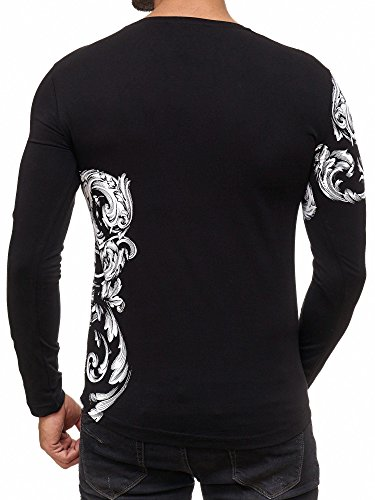 Redbridge Red Bridge Herren Sweatshirt Relaxing Floral Motiv Longsleeve Pullover T-Shirt Langarm Schwarz