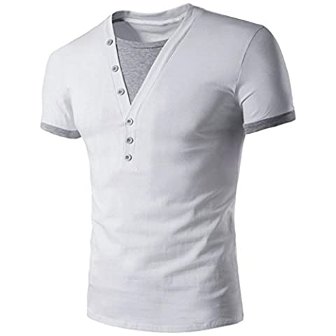 Hommes T-Shirt Manches Courtes,Overdose Basiques Tops T-Shirt à Col V Profond Avec Bouton Regular Fit (M, Blanc)