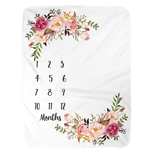 Ritapreaty Baby Monthly Milestone Blanket | Groß39,37 X 51,18 Zoll Mädchen Junge Neugeborene Fotografie Baby monatliche Dusche Decke