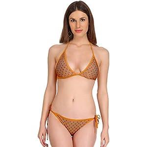 727dd65029 Fashion Comfortz Women s Girls Satin Doted Spandex Sexy Bra Sexy Panty