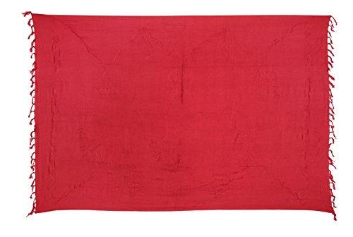 Sarong Handbestickt inkl. Sarongschnalle im Fisch Design - Viele Größen und exotische Farben und Muster zur Auswahl - Pareo Dhoti Lunghi Stickerei Rot