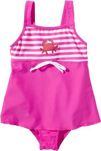 Playshoes Baby - Mädchen Schwimmbekleidung, gestreift 460105 Badeanzug mit Rock Krebs von Playshoes mit UV-Schutz nach Standard 801 und Oeko-Tex Standard 100, Gr. 98/104, Mehrfarbig (900 original)