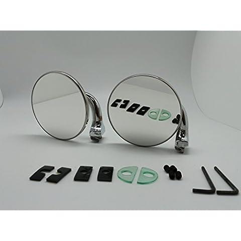 (2) 60'S 70da 80' S Vintage Classico Tondo cromato specchio per Hood Bonnet porta