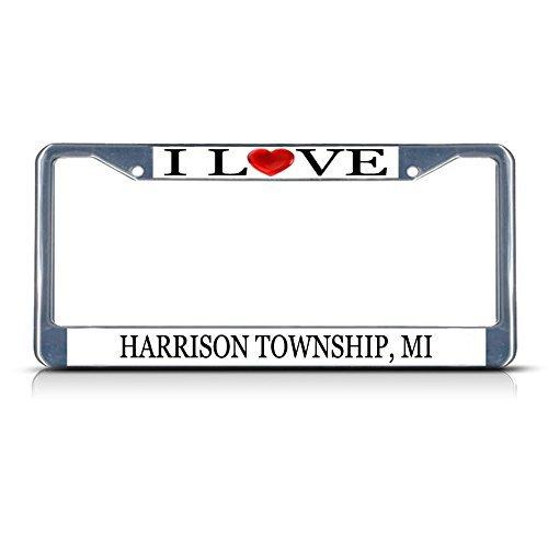 Nummernschild Rahmen I LOVE Herz Harrison Township (Mi Aluminium Metall Nummernschild Rahmen silber Grenze