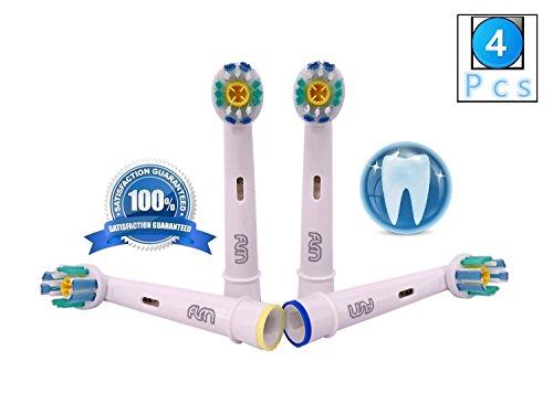 Flm 3d white/pro bright eb18-4 - testine di ricambio per spazzolino elettrico compatibili con braun oral b, 4 ricambi