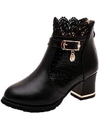 4d91da6c14f28 ZYUEER Femmes Talon Lacet De Soiree Chaussures Compensé Dentelle Mode Ankle Boots  Femme Bottes Neige Chaud
