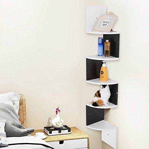 Mensola design da muro di 5 ripiani,mensola a muro per angolo,scaffale libri angolare a parete,20*20*120cm