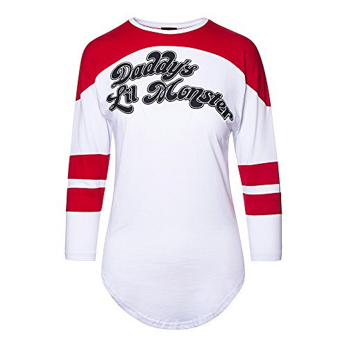 Top Harley Quinn Daddys Lil Monster Raglan DC Comics (Bianco)