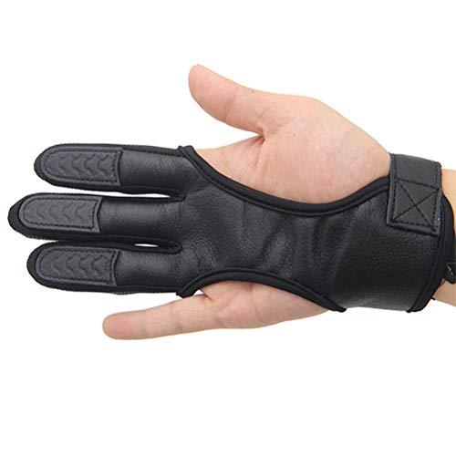 LIOOBO 3 Finger Handschuhe Bogenschießen Handschuhe Leder Handschuhe Fingerschutz (Größe XL Schwarz) -