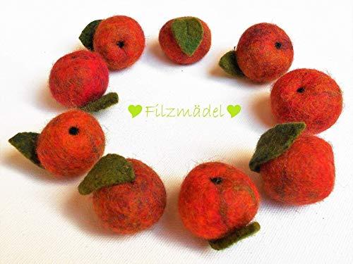 Apfel Filz 9 Stück im Set 2,5 cm bis 3 cm - Neun Stück Set