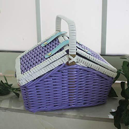 Bag-Haigeen Frauen-Weinlese gesponnene Handtasche populäre weibliche handgemachte Rattan gestrickte Korb-Beutel-Strand-Dame Travel Ping Box Purple