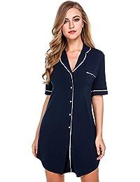 Avidlove Damen Viktorianisch Nachthemd T-shirt Luxus Nachtwäsche Lange Hülsen