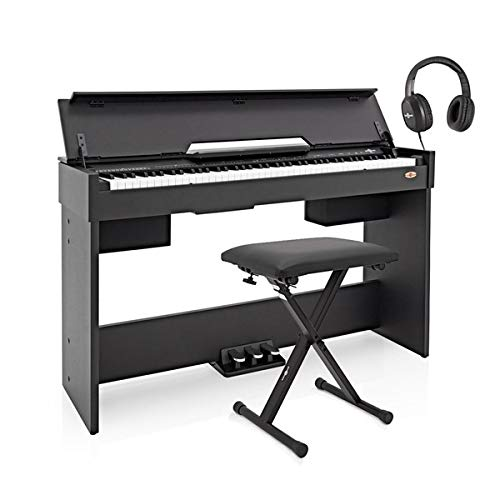DP-7 pianoforte digitale compatto Gear4music + kit accessori nero