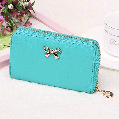 Vektenxi Kurze Damen süße Brieftasche Bow Single Zip Short Version Geldbörse (Bow Damen-geldbörse)