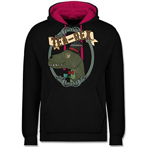 Comic Shirts - Tea-Rex - Kontrast Hoodie Schwarz/Fuchsia