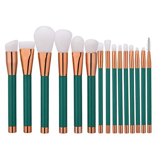 Qinlee Pinceaux de maquillage 15 pièces Brosse de Maquillage Professionnel synthétique Fusion de fond de teint Concealer Eye visage liquide Poudre crème Cosmétique Pinceaux kit