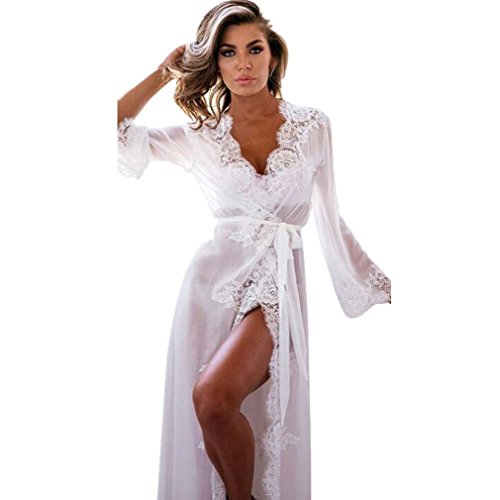 Damen Kimono Robe Morgen Mantel Dessous Nachtwäsche Negligee Pyjamas Heiß