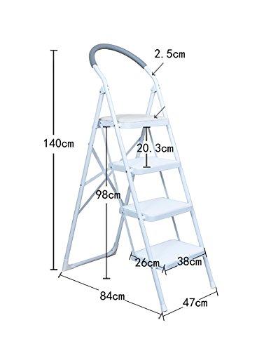 LSX-Step Hocker Trittstuhl-Schemel-Stühle für Erwachsene faltende Leiter mit Griff-rutschfesten Treten Portable Stepladder/Speicher-Regal/Schemel/Blumen-Gestell OYO (Color : White) (Töpfchen Stuhl Griffe)