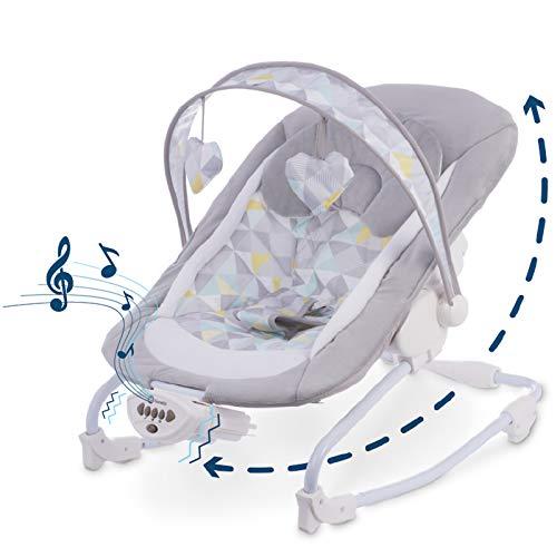 Lionelo Zoe Baby Wippe, Babyschaukel Elektrisch mit Liegefunktion, Baby Schaukel 0-9kg, 5 Melodien, Spielzeugbügel (Grau)