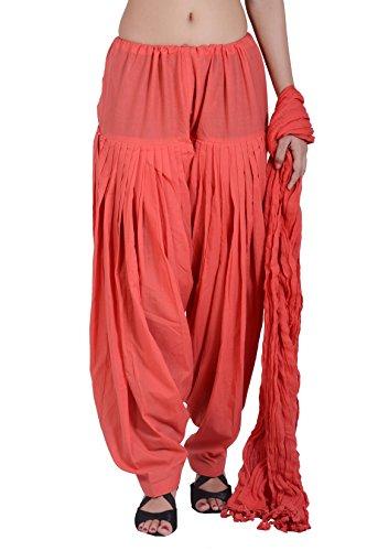 Jaipur Kala Kendra Women's Patiala Salwar Dupatta Set (10008_Peach_Large)
