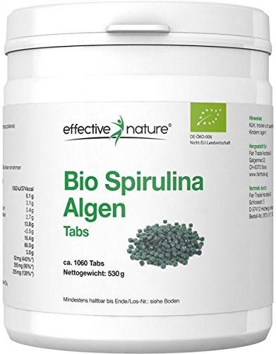 effective nature Bio Spirulina Algen Tabletten zur basischen Ernährung (Hohe Bioverfügbarkeit) - 1060 Vegane Tabs